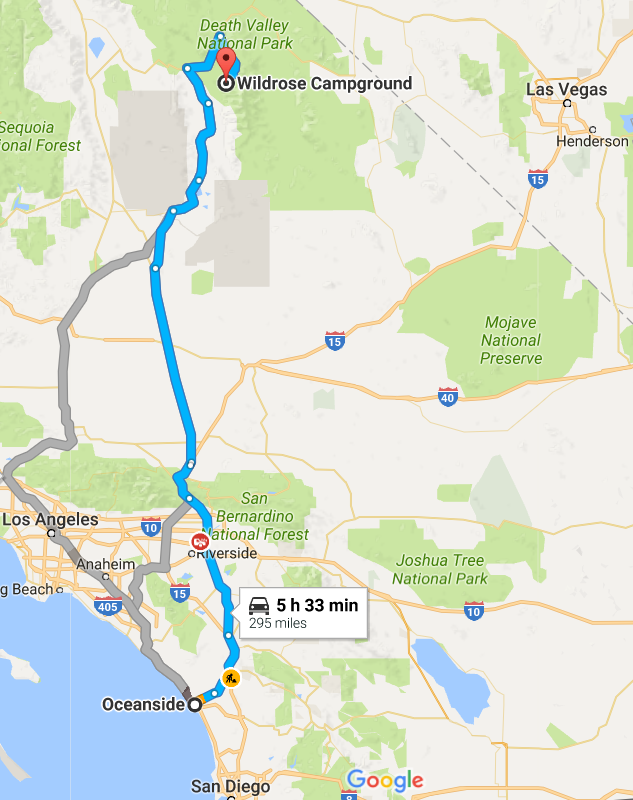 Approximate route from Oceanside California to Wildrose Campground in Death Valley